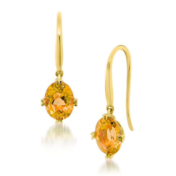 9ct/Y Oval Natural Citrine Drop Earrings