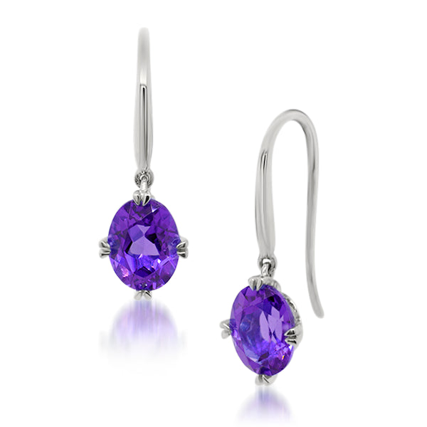 9ct/W Oval Natural Amethyst Drop Earrings