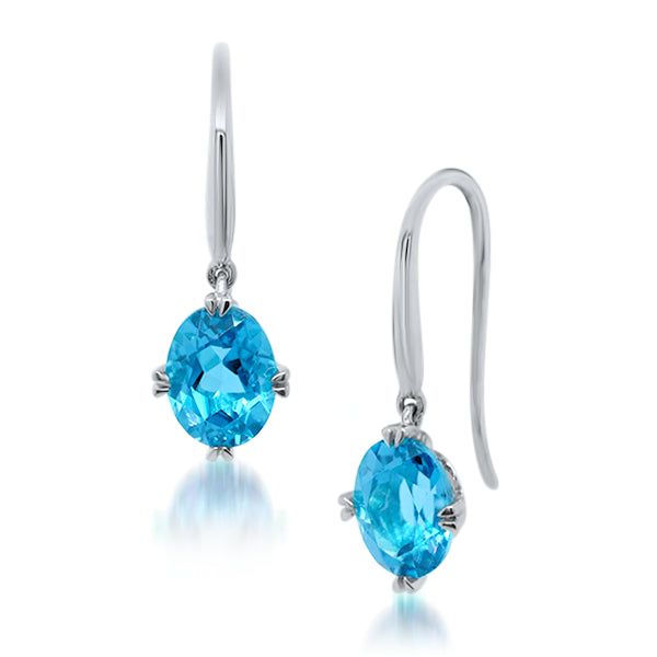 9ct/W Oval Natural Blue Topaz Drop Earrings