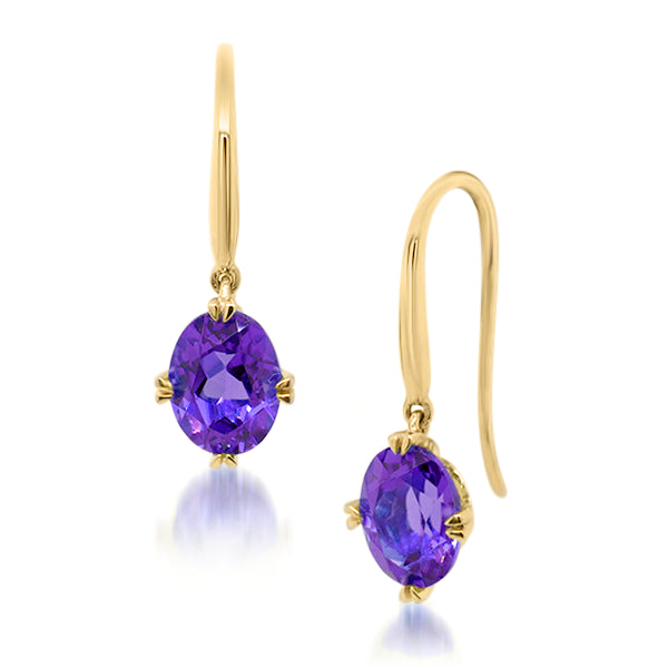 9ct/Y Oval Natural Amethyst Drop Earrings