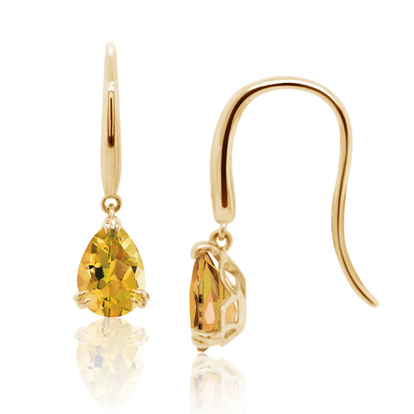 9ct/Y Pear-Shape Natural Citrine Drop Earrings