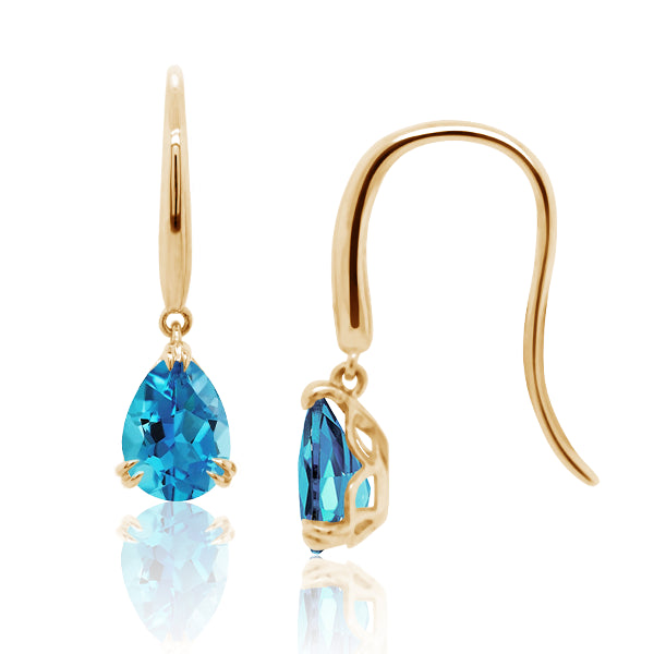 9ct/Y Pear-Shape Natural Blue Topaz Drop Earrings