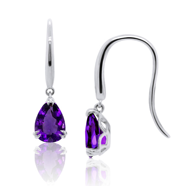9ct/W Pear-Shape Natural Amethyst Drop Earrings