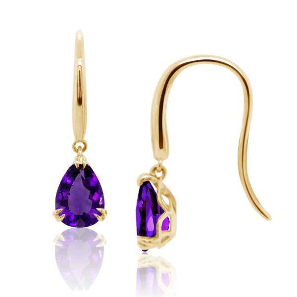 9ct/Y Pear-Shape Natural Amethyst Drop Earrings