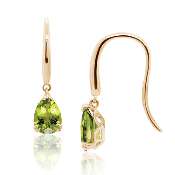 9ct/Y Pear-Shape Natural Peridot Drop Earrings