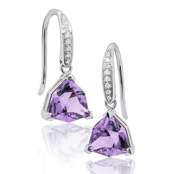 9ct Custom-Cut Hexagonal Amethyst & Diamond Earrings