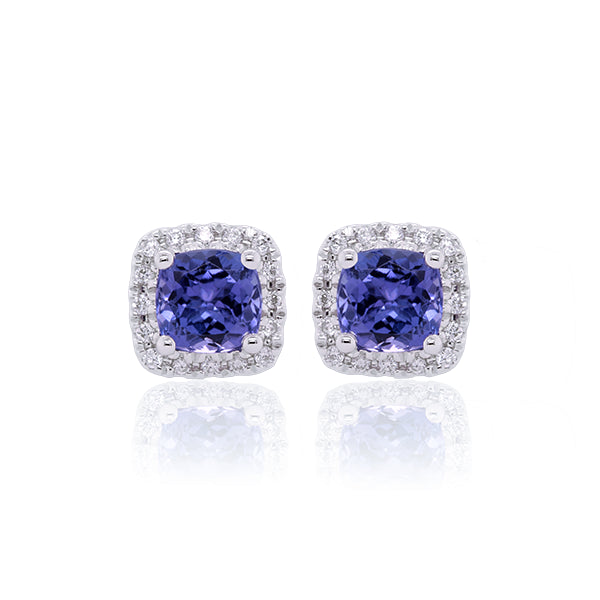 9ct Cushion-Cut Tanzanite & Diamond Stud Earrings