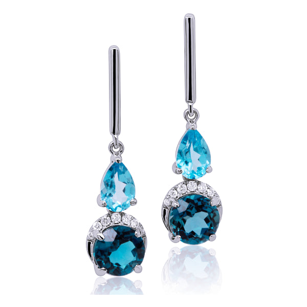 9ct Blue Topaz & Diamond Earrings