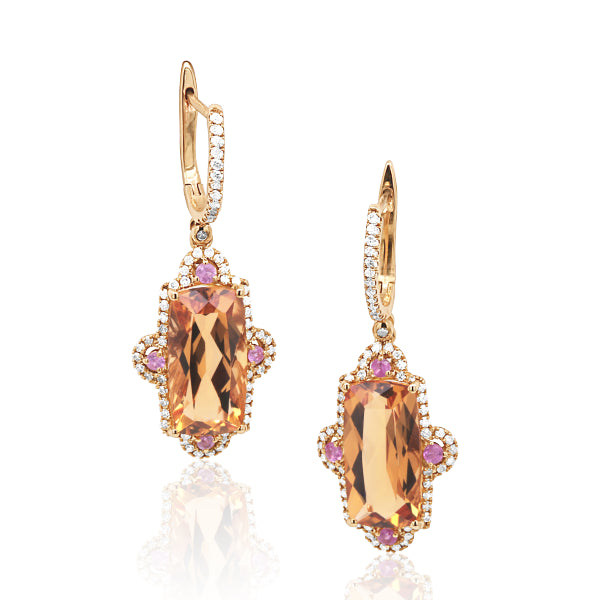 9ct Natural Citrine, Pink Sapphire & Diamond Earrings