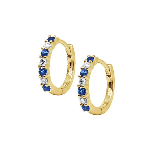 9ct Natural Australian Sapphire & Diamond Hoops