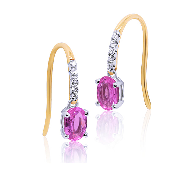 9ct Natural Pink Sapphire & Diamond Drop Earrings