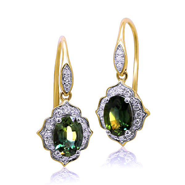9ct Vintage-Inspired Australian Sapphire & Diamond Earrings