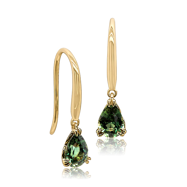 9ct Green Australian Sapphire Drop Earrings