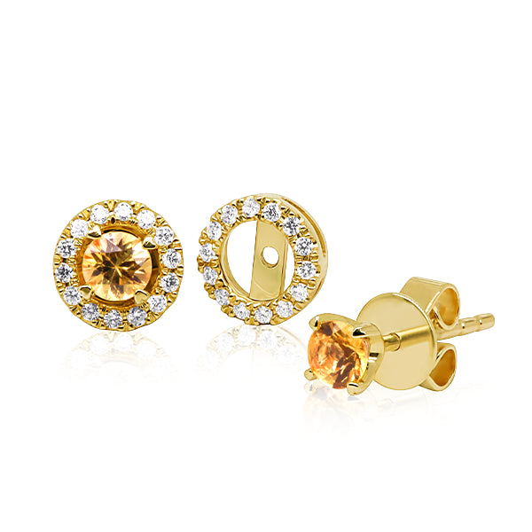 9ct Yellow Sapphire Stud & Diamond Halo Jacket Set