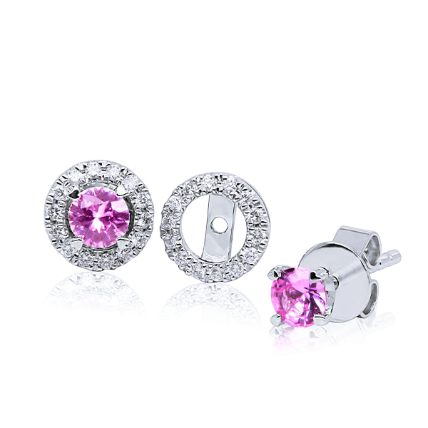 9ct Pink Sapphire Stud & Diamond Halo Jacket Set