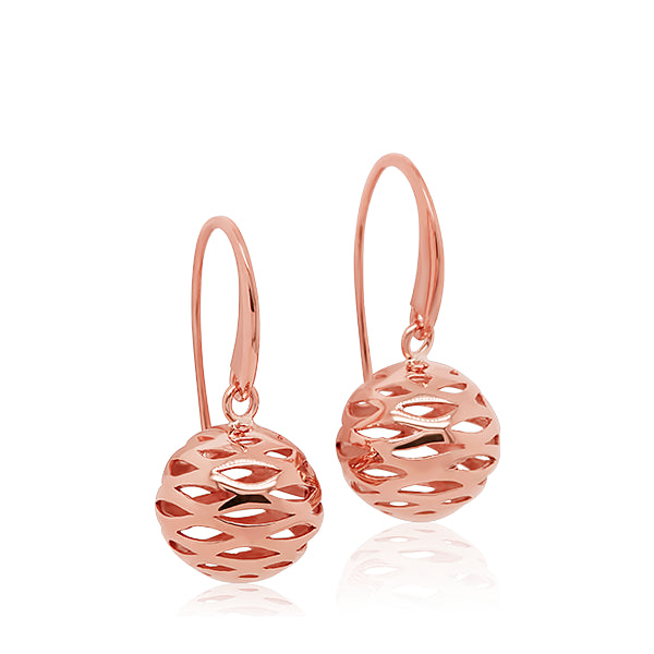 9ct Hand-Polished Open Sphere Drop Earrings