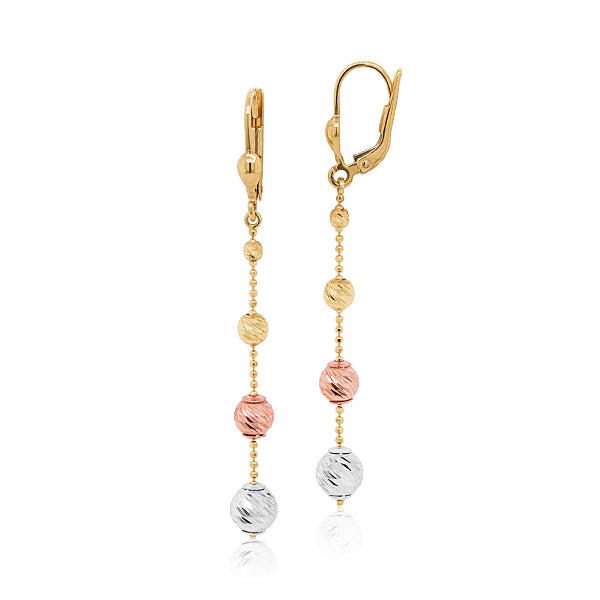9ct Tri-Colour Faceted Ball Drop Earrings