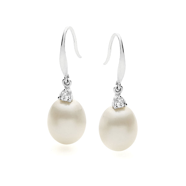 IKECHO Silver CZ White Drop 9-9.5mm Pearl Drop Earrings