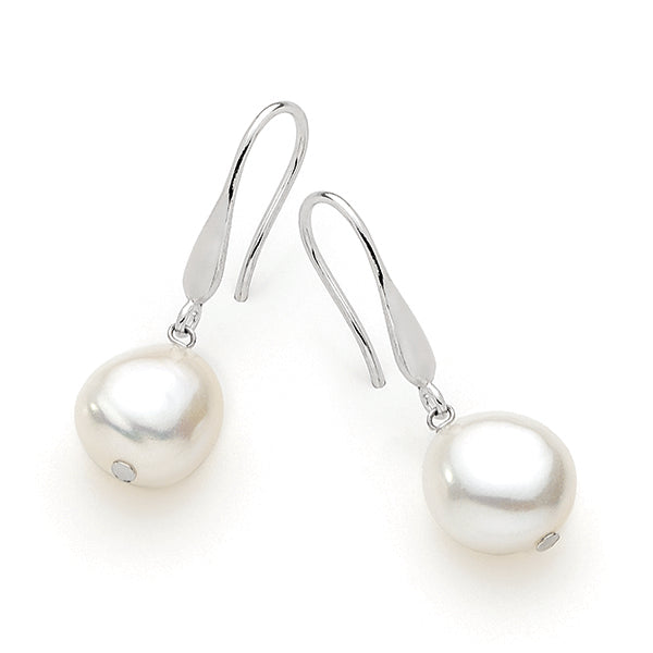 IKECHO Silver White 11-12mm Keshi Pearl Drop Earrings