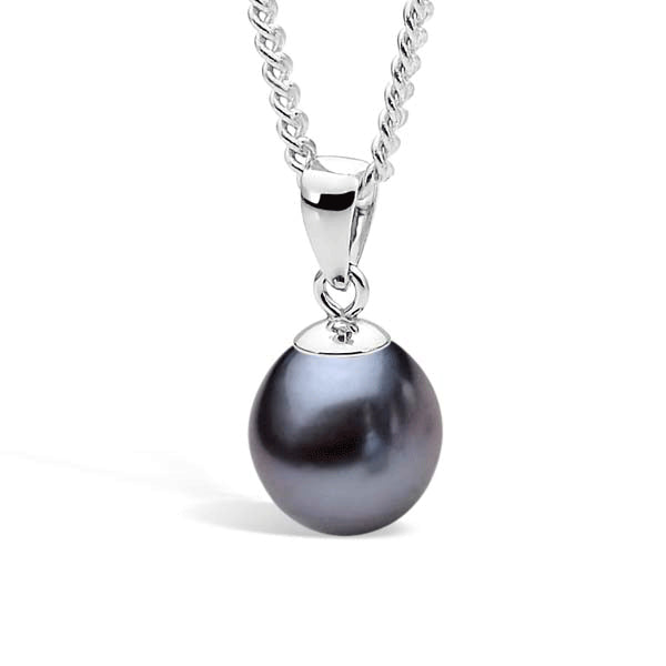 IKECHO Silver Black 7.5-8mm Drop Pearl Pendant