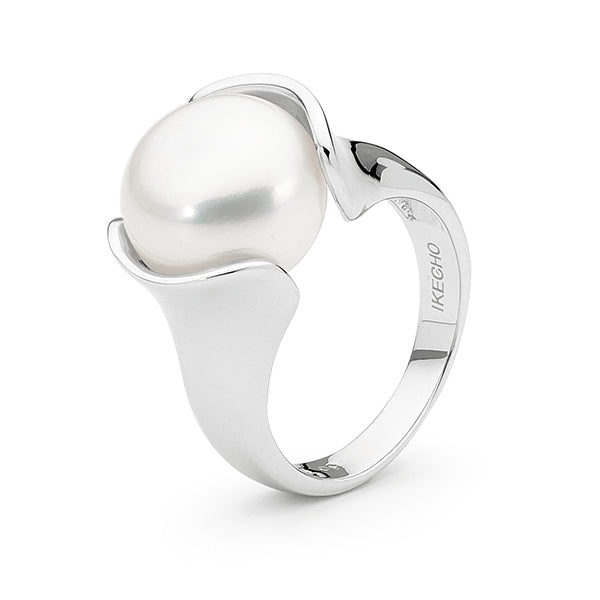 IKECHO Silver 11.5-12mm White Button Pearl Ring