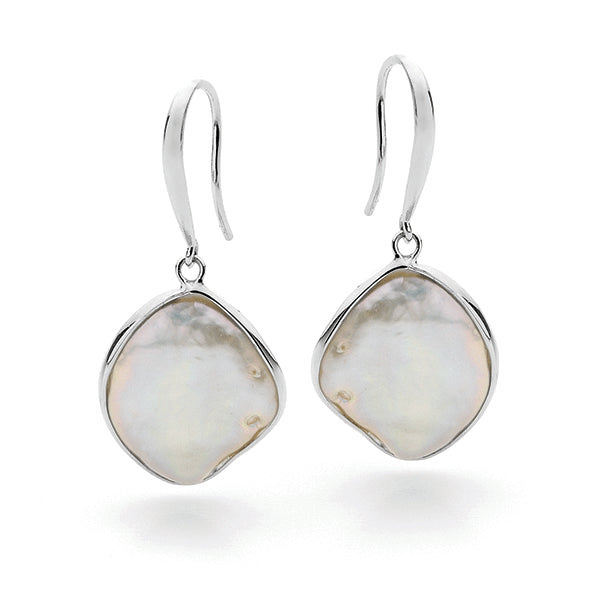 IKECHO Silver 12mm Biwa Pearl Earrings
