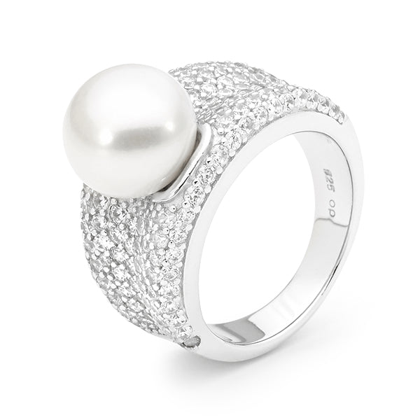 IKECHO Silver CZ White 10.5-11mm Button Pearl Ring