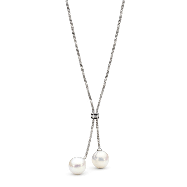 IKECHO Silver White 12.5-13mm Baroque Pearl Lariat Necklace