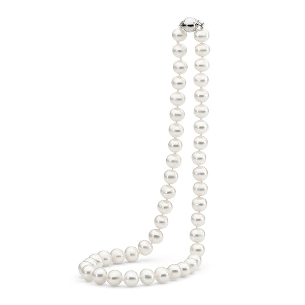 IKECHO Silver White 8.5-9.5mm Near-Round Pearl Strand
