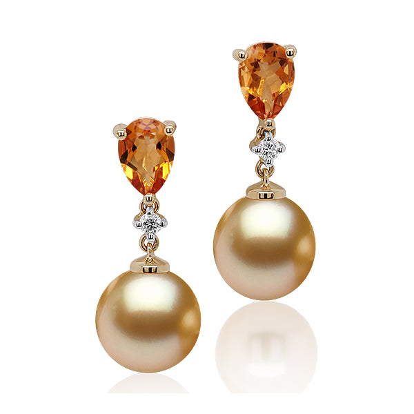 9ct Golden Pearl, Citrine & Diamond Earrings