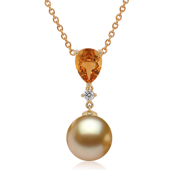 9ct Golden Pearl, Citrine & Diamond Pendant