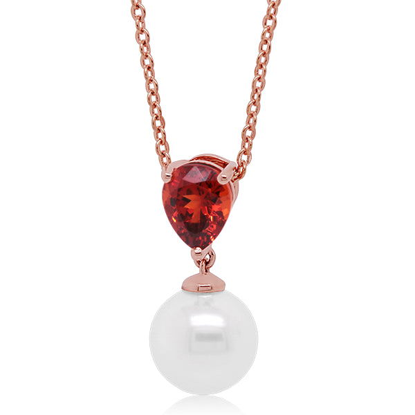 9ct South Sea Pearl & Garnet Pendant