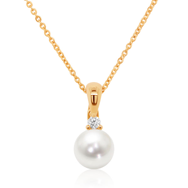 9ct South Sea Pearl & Diamond Solitaire Pendant