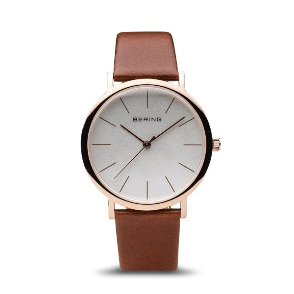 BERING 36mm Classic Rose/Brown Strap Watch