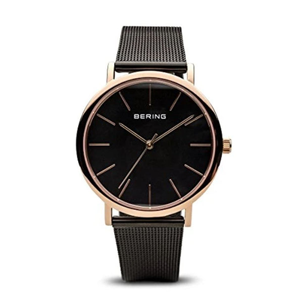 BERING 36mm Classic Rose/Black Strap Watch