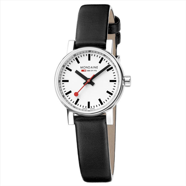 Mondaine 26mm EVO2 Watch with Black Strap
