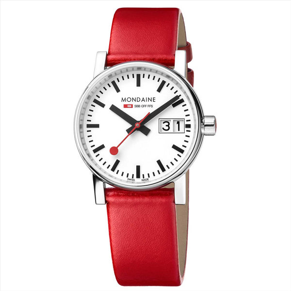 Mondaine 30mm EVO2 Watch with Red Strap