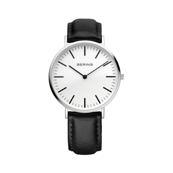 BERING 34mm Classic Steel/Black Strap Watch