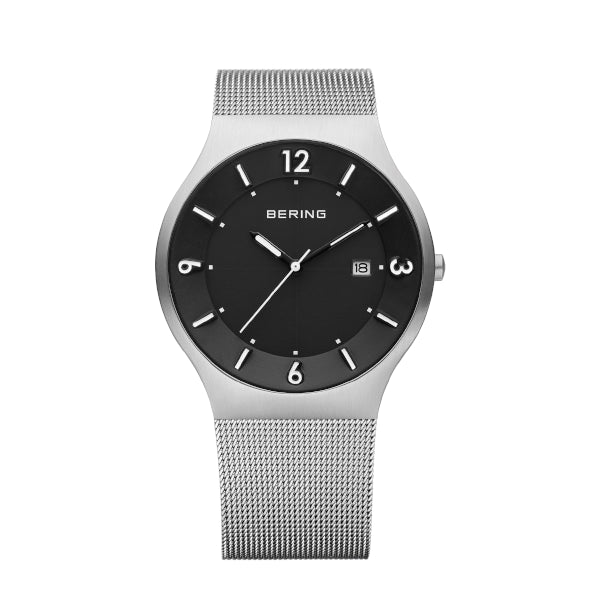 BERING 40mm Slim Solar Silver Watch