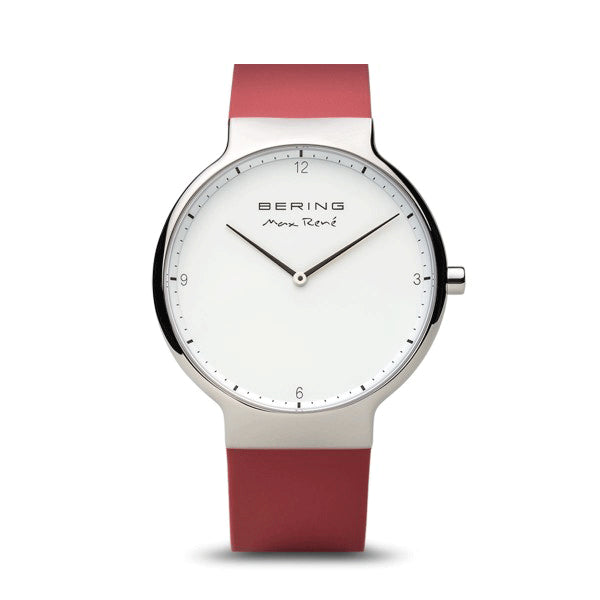 Max Rene for BERING 40mm Silver/Red Watch