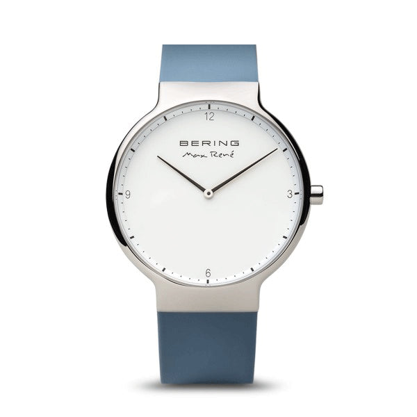 Max Rene for BERING 40mm Polished Silver/Blue Watch