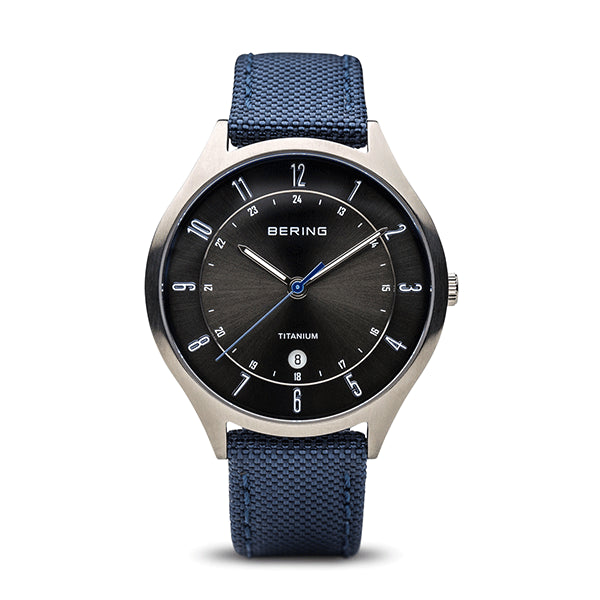 BERING 39mm Silver/Blue Titanium Watch
