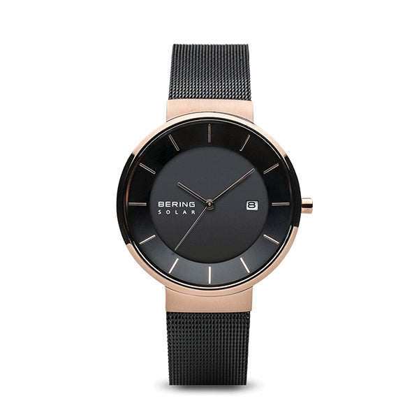 BERING 39mm Solar Rose/Black Watch