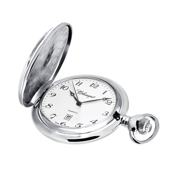CLASSIQUE Rhodium Plated Swiss Quartz Pocketwatch