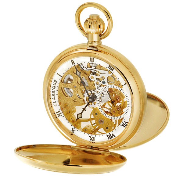 CLASSIQUE Swiss Skeleton Gold-Plated Steel Pocketwatch