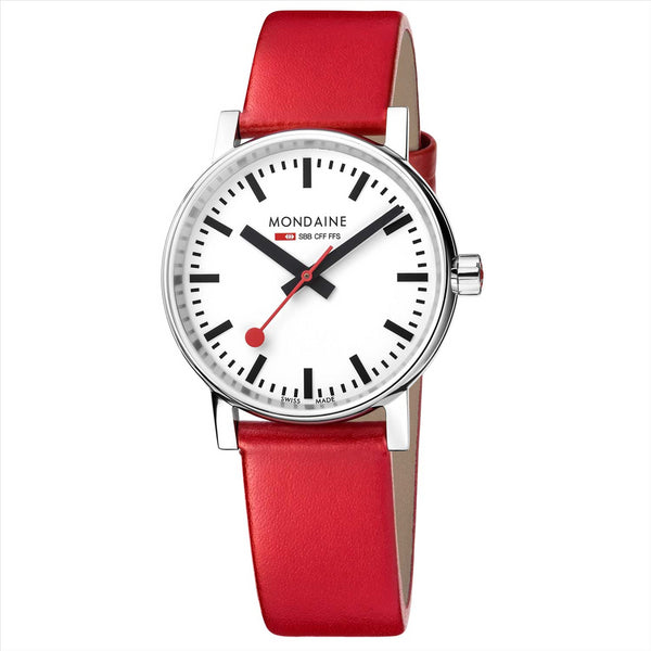 Mondaine 35mm EVO2 Watch with Red Strap