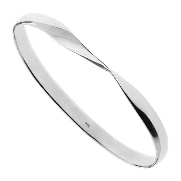 Najo 6mm Solid Silver 1/2 Round Oval Bangle With Twist