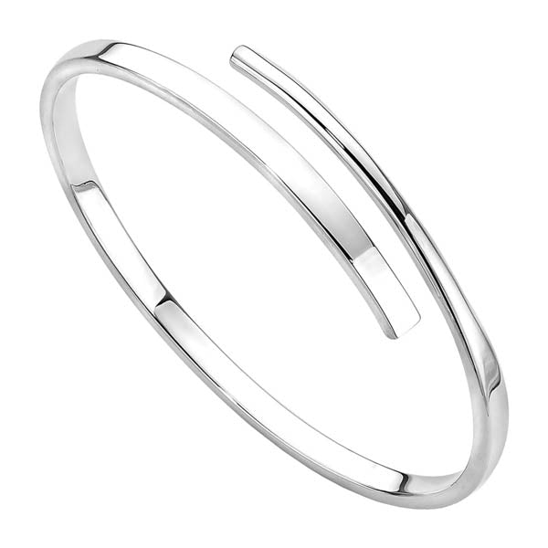 Najo Solid Silver Oval 4.5mm Tapered Wrap Bangle