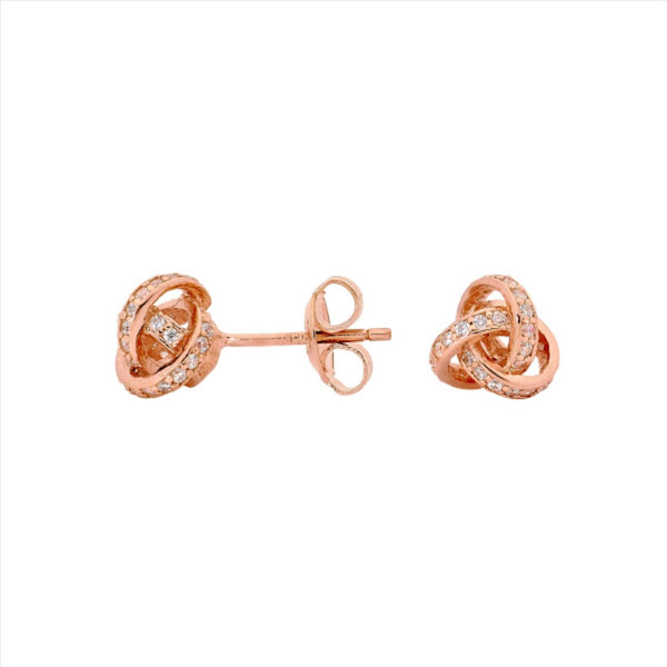 GEORGINI Love Knot Silver-Rose Earrings