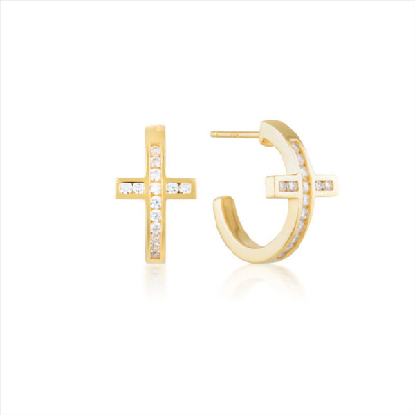 GEORGINI Spiritus Cross Silver-Gold Hoop Earring
